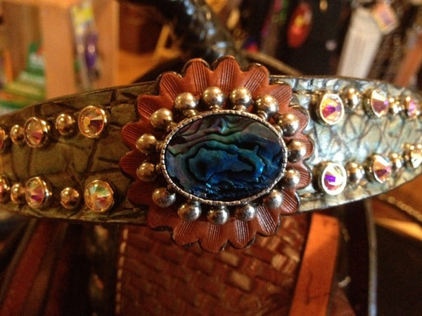 Teal Gator Headstall and Breast Collar Set with Labradorite Conchos & Swarovski Crystal Studs