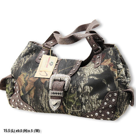 Licensed Mossy Oak Camo & bLiNg Handbag (Coffee)