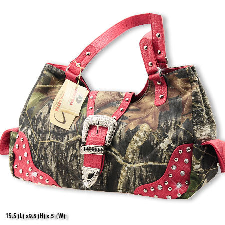 Licensed Mossy Oak Camo with Bling Buckle & Red Accents Handbag