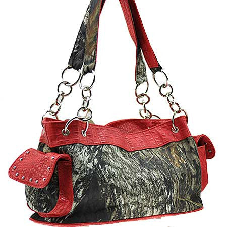 Licensed Mossy Oak Camo with Red Accents Handbag