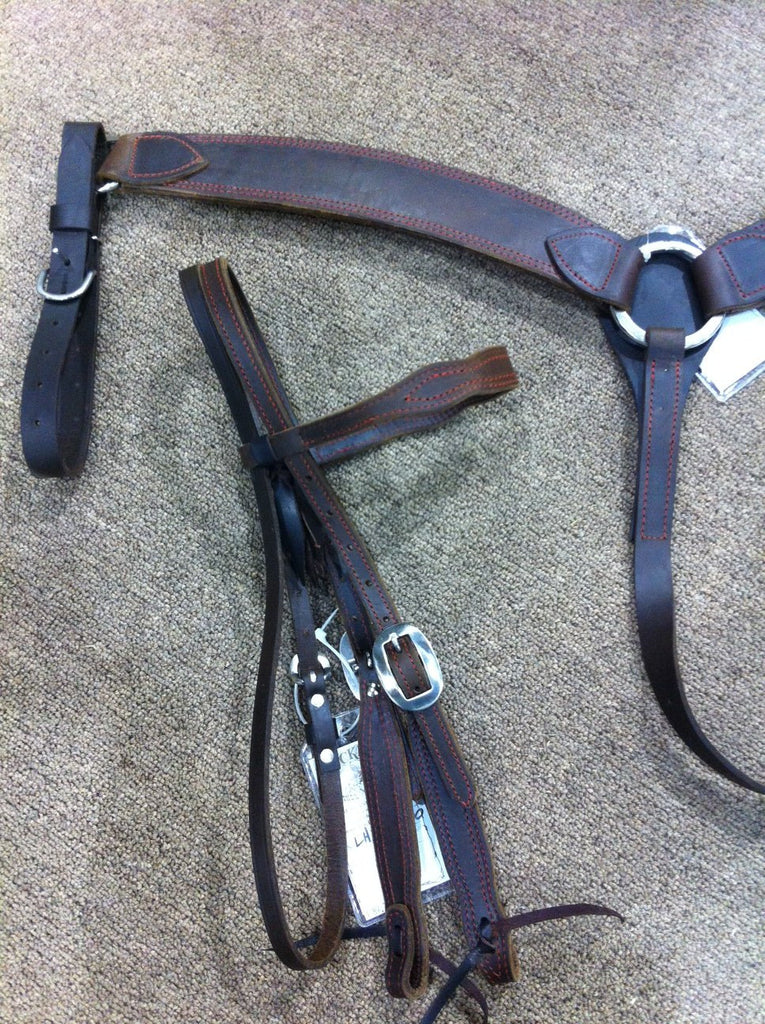 New Vintage Red Stitch Buckaroo Headstall & Breast Collar Set