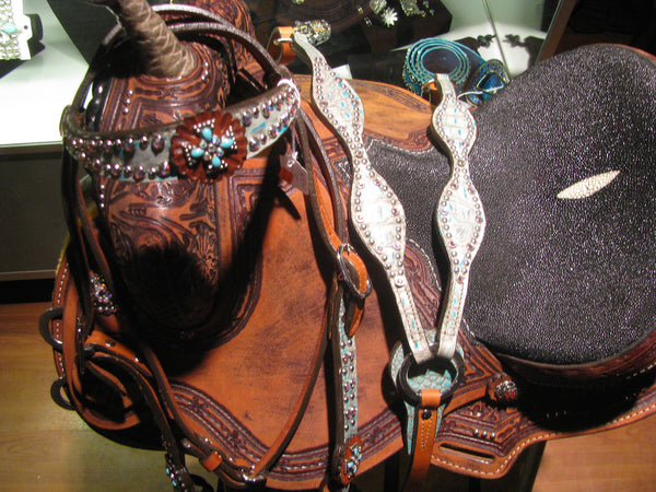 Teal Gator Headstall and Breast Collar Set with Turquoise Cross Conchos