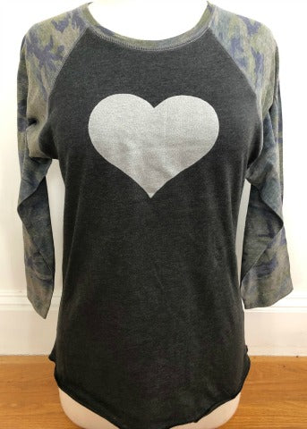 Camo and Charcoal Baseball Tee Silver Heart
