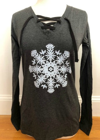 Charcoal Lace Up Long Sleeve Snowflake