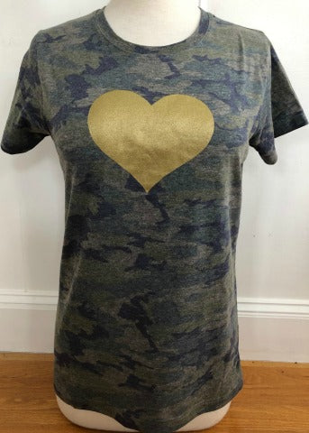 Camo Crew Neck Short Sleeve Gold Heart