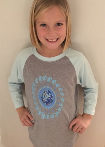 Grey & Aqua Girls Baseball Tee Turquoise Flower