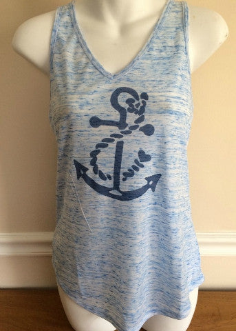 Heather Blue V-Neck Tank Navy Anchor