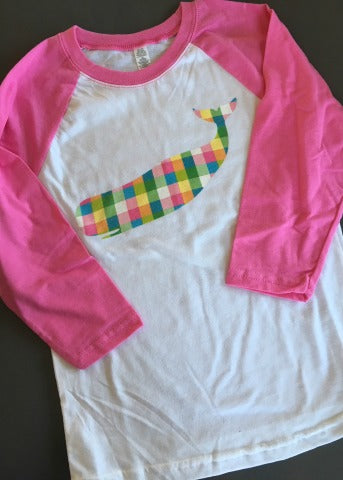 White & Pink Girls Baseball Tee Plaid Whale