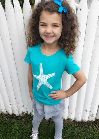 Turquoise Girls Short Sleeve White Starfish