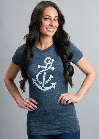 Navy Short Sleeve White Anchor