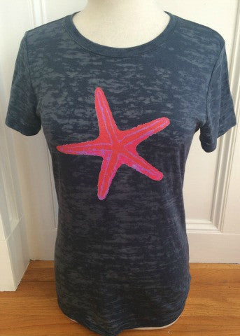 Navy Short Sleeve Hot Pink Starfish
