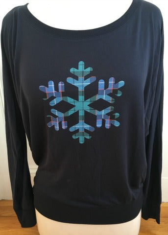Navy Dolman Plaid Snowflake