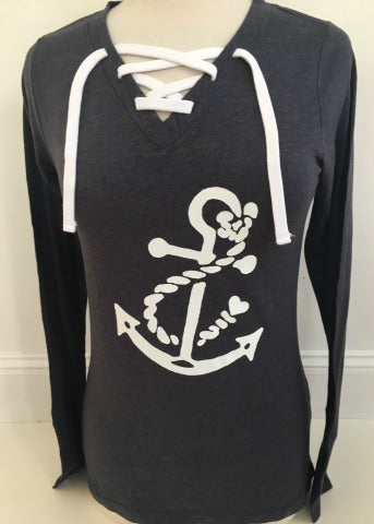 Navy Lace Up Long Sleeve White Anchor