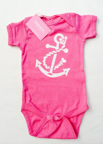 Pink Short Sleeve Onesie White Anchor