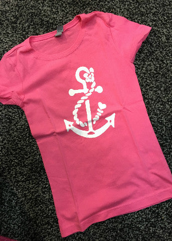 Pink Girls Short Sleeve White Anchor