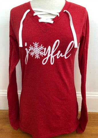 Red Lace Up Long Sleeve Joyful