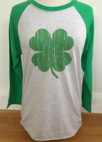 White & Green Baseball Tee Shamrock