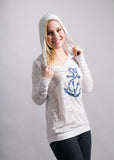 White Hoodie Navy Anchor