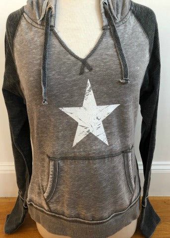 Vintage Grey-Charcoal Hoodie White Star