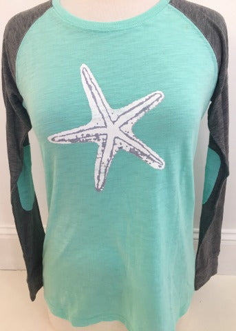Aqua/Grey Baseball Tee White Starfish