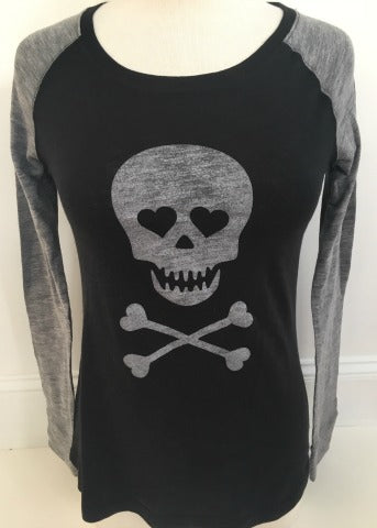 Black/Grey Baseball Tee Silver Skull