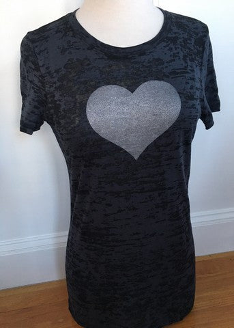 Black Short Sleeve Silver Heart