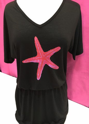 Black Dress Hot Pink Starfish