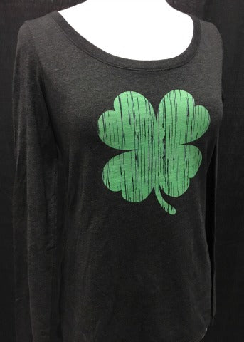Charcoal Long Sleeve Green Shamrock