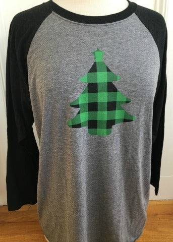Grey & Black Baseball Tee Green Plaid Tree