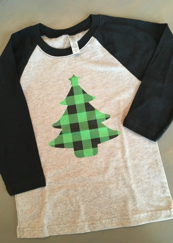 Black & Grey Girls Baseball Tee Green Plaid Tree