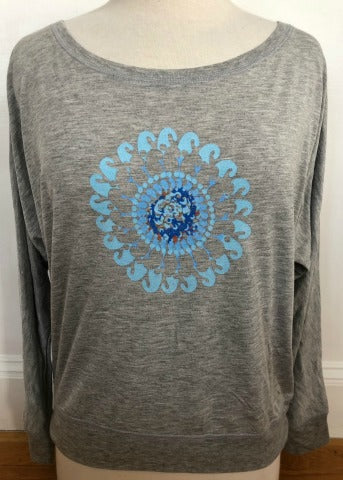 Grey Dolman Turq Multi Flower
