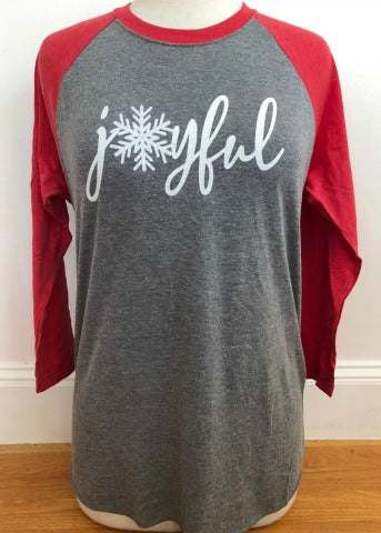 Grey & Red Baseball Tee Joyful