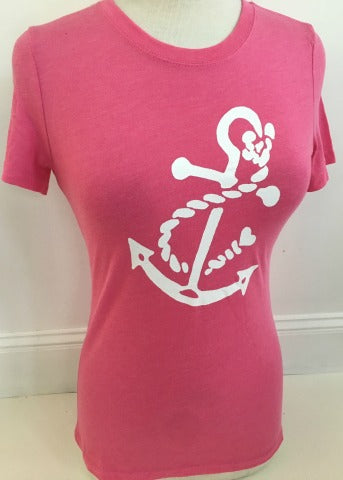 Pink Tri Blend Crew White Anchor