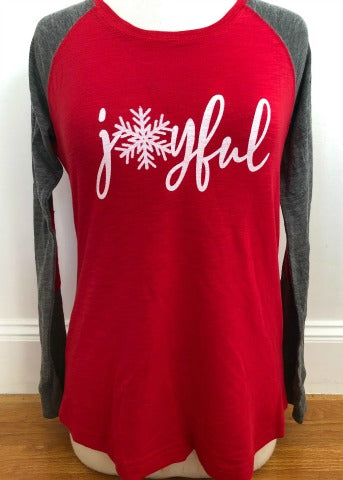 Red/Grey Baseball Tee Joyful