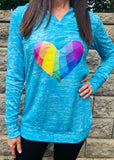 Turquoise Hoodie Love and Hope