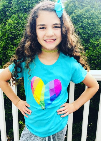 Turquoise Little Girls Tee LOVE and HOPE