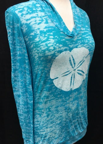 Turquoise Hoodie White Sand Dollar