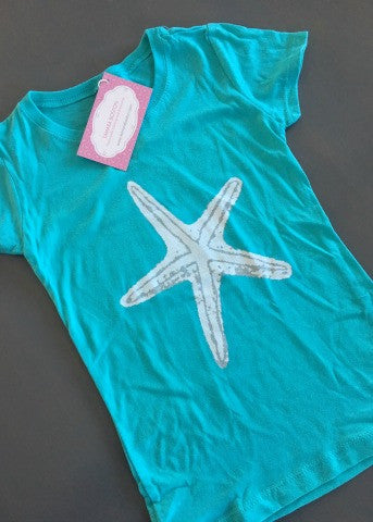Turquoise Little Girls Tee White Starfish