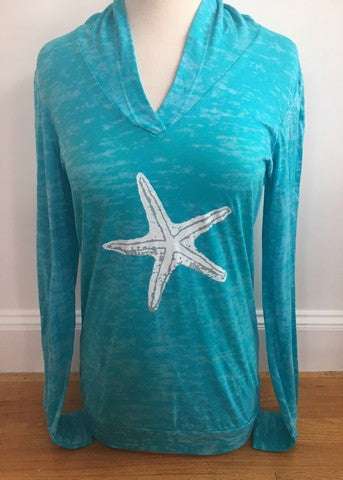 Turquoise Hoodie with White Starfish