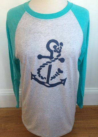 White & Aqua Baseball Tee Navy Anchor