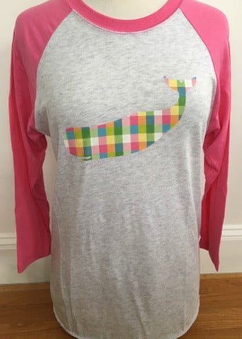 White & Pink Baseball Tee Plaid Whale