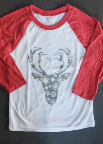 White & Red Girls Baseball Tee Snowflake Antlers