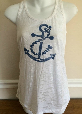 White Racer Back Tank Navy Anchor