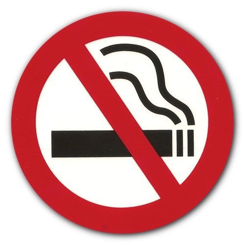 "Circular No Smoking Sticker - White Background - 2"" and 3"""