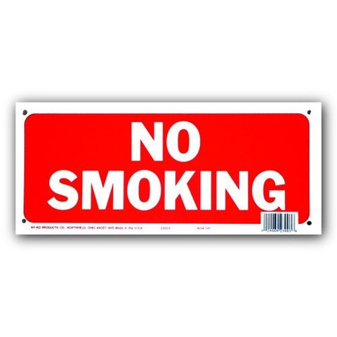 Weather Resistant Plastic Fence Sign - No Smoking - 6x14