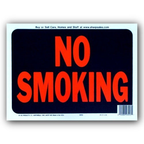 No Smoking Plastic Hy-Glo 9x12 Sign 3013