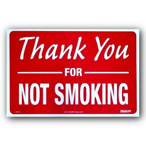 Plastic Indoor/Outdoor - Thank You For Not Smoking - 8x12