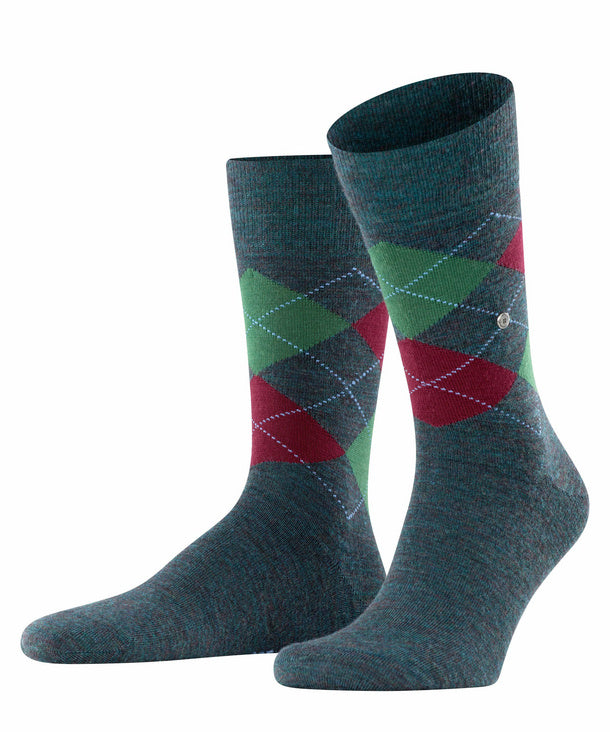 Burlington Melange Edinburgh Sock Green Mel HemingCo