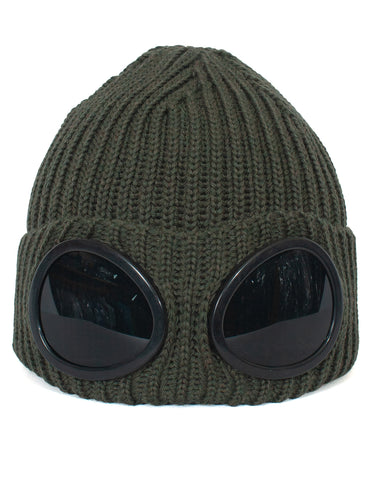 C.P Company Lens Beanie Hat: OLIVE