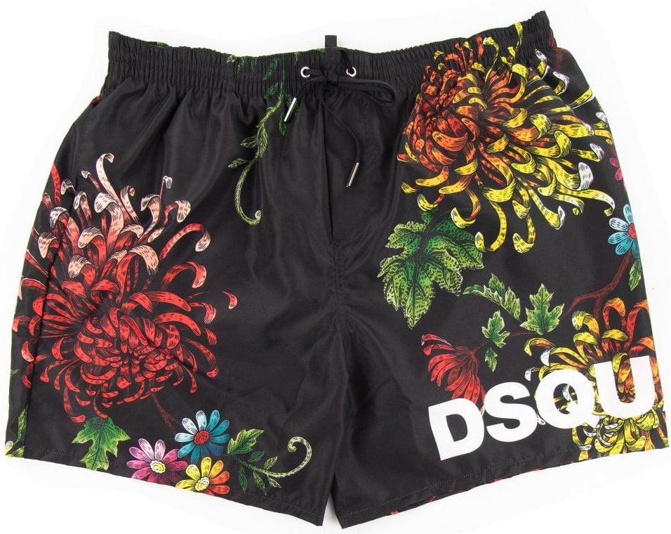 Load image into Gallery viewer, DSquared2 Floral Print Swim Short Black HemingCo Edit alt text